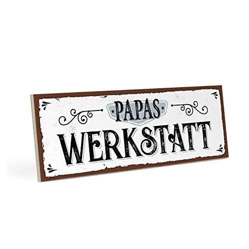 ARTFAVES Holzschild mit Spruch - Papas Werkstatt - Vintage Shabby Deko-Wandbild/Türschild