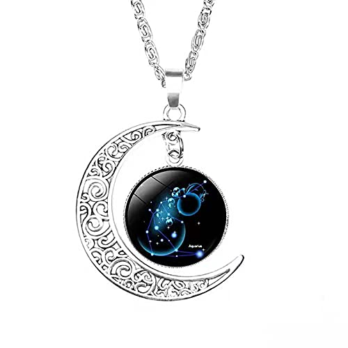 2021 Collar de 12 constelaciones de moda Colgante de luna creciente, Collares de verano para niñas adolescentes, Signo astrológico Astrología Signo del zodiaco Regalos (Acuario)