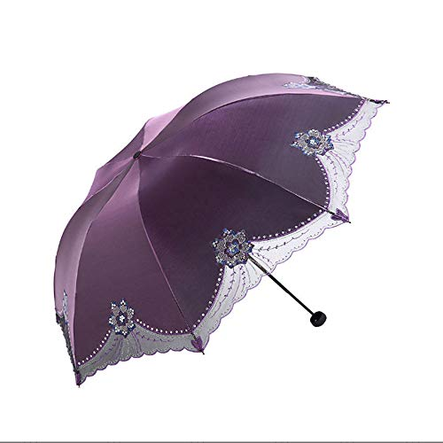 xinrongqu Kreative High-End Weibliche Stickerei Regenschirm Sonnencreme Dreifachgefaltete Geschenk Regenschirm Regenschirm Taschenschirm Großhandel Lila 57 * 8 Karat