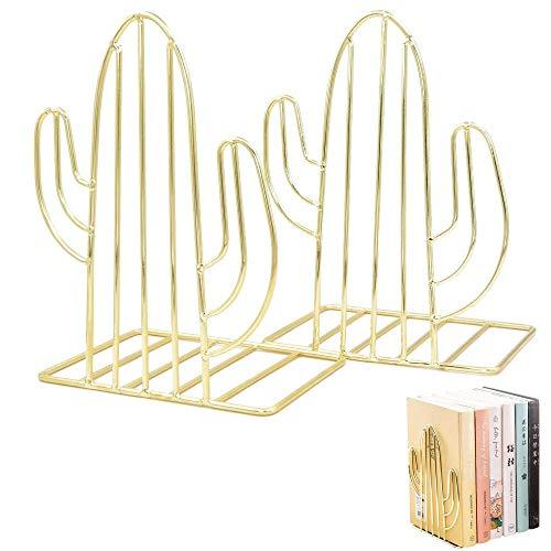 2 Piezas Sujetalibros Antideslizantes Metal, Sujetalibros de Cactus, Forma de Cactus Creativo Metal Soporte de Libro Telescópico para Dormitorio, Biblioteca, Oficina, Libro Escolar (Dorado)