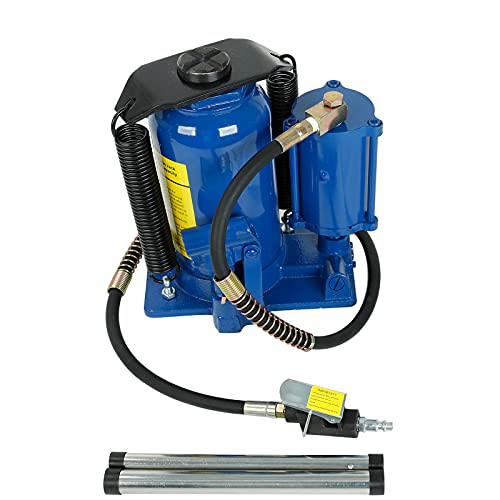 Pneumatic Air Hydraulic Bottle Jack 20 Ton Bottle Jack with Manual Hand Pump Air Jack Heavy Duty Auto Truck Repair Lift (Blue)