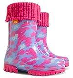 Demar Lux Bright Boys Girls Kids Warm Fleece Lined Wellington Boots Wellies (Pink Hearts, 8-9 UK / 26-27 EU - 165mm)