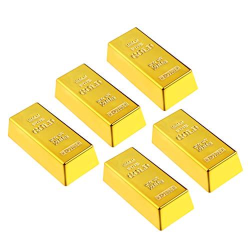 PRETYZOOM 5 Stück Goldbarren Türstopper Gefälschte Goldbarren Briefbeschwerer Gold Türstopper Türkeil für Home-Office-Dekoration