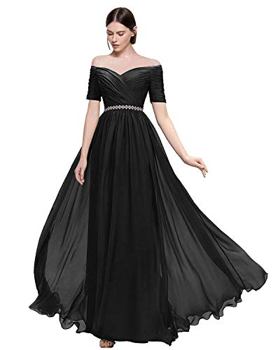 Lily Wedding Womens Beaded Off Shoulder Prom Bridesmaid Dress 2019 Long Aline Evening Formal Gown TB32 Plus Size 22 Black