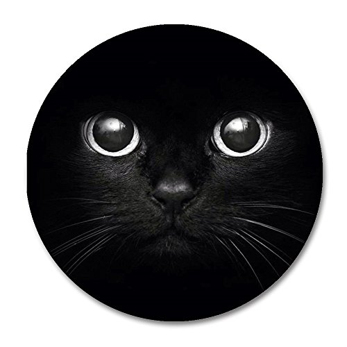 Cat Mouse Pad by Smooffly,Cute Black Cat Face Mousepad with Rubber 20cm