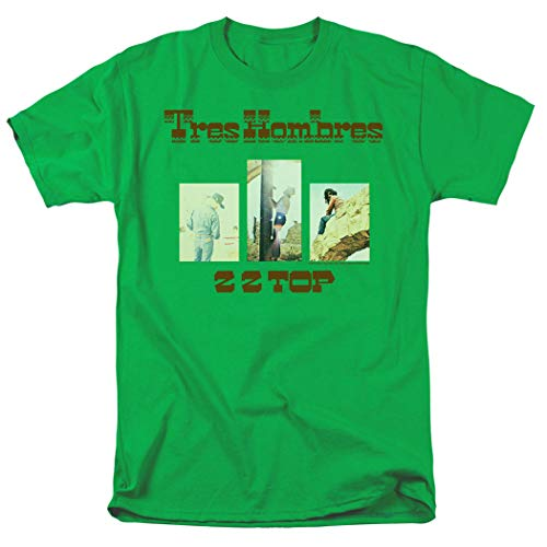 ZZ Top Tres Hombres Album T Shirt & Stickers (X-Large) Kelly Green