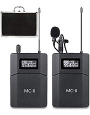 6 Kanalen UHF Wireless Lavalier Microfoon Systeem Compatibel voor DSLR Camera Canon, Nikon, Sony en Camcorders Telefoons Gebruikt voor Video Nieuws Youtube Interview Verzamelen