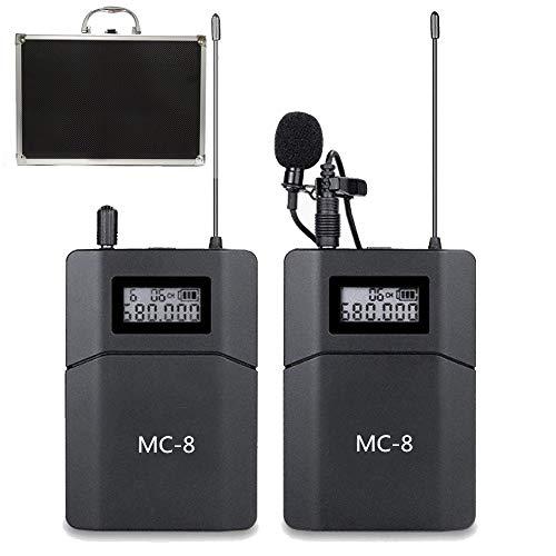 MC8 6-Kanal UHF Drahtloses Lavalier Mikrofon Kabellos Wireless Funk Kamera Mikrofon Kompatibel für DSLR-Kameras Camcorder Smartphone Wird für Videoaufnahmen Verwendet Interview Yoga Unterrichten