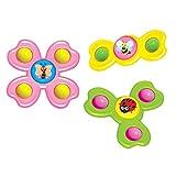 Peonza con Ventosa, 3PCS / Set Animal Spin Sucker Spinning Top Spinner Toy, Juego de lechón de Mesa Interesante de Juguete Giratorio, Juguetes de baño para bebés, Juego Interesante Seguro para niños
