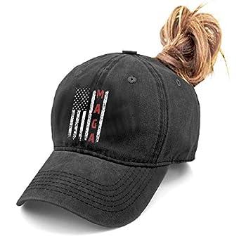 Unisex Make America Great Again MAGA Vintage Adjustable Baseball Cap Denim Dad Hat  One Size Ponytail Black