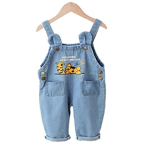 Berrywho Baby-Jeans Overalls Latzhose Denim Overall Mädchen Jungen Strampler Katze gedruckte Kleidung 80cm