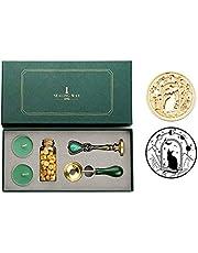 Kit de sellos de cera, lujoso sello de cera con mango de metal, juego de caja de regalo, verde esmeralda (estrellas robadoras de gatos)