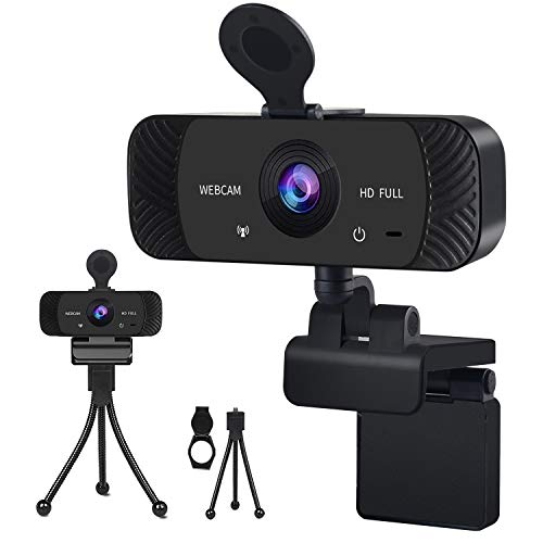Webcam HD 1080p, Web Camera, USB PC Webcam, with Stereo Microphone and Privacy Cover, Desktop Laptop Webcam, 360 ° Rotate Webcam for Calling, Conferencing, Gaming, Recording, Teaching
