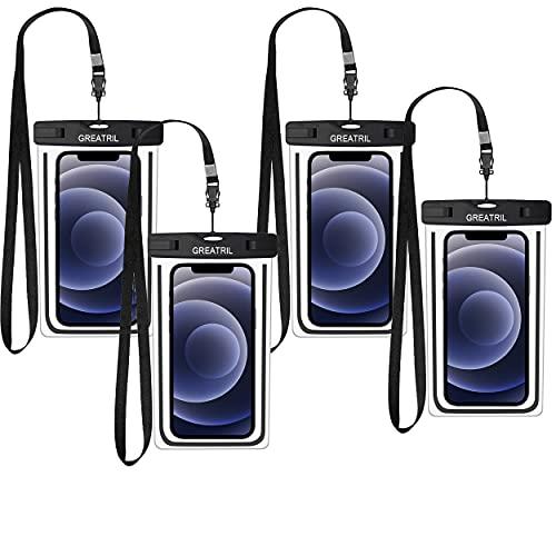 GREATRIL - Funda impermeable universal para teléfono móvil compatible con iPhone 12/12 Pro / 11 / XS/XR Samsung A52 / A51 / A71 / S20 / S21 hasta 7 pulgadas, color negro