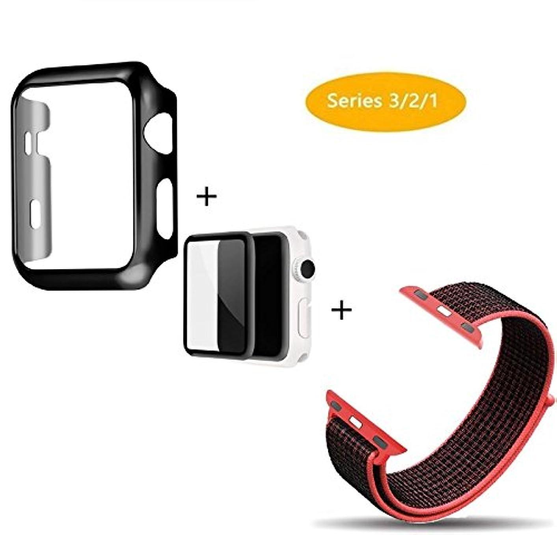 改善提供されたハーブGengenshi 対応 Apple Watch Series 3/2/1 フィルムに 3D曲面保護シート フルカバー液晶保護ガラスフィルム+PC メーキ加工 耐衝撃性 アップルウォッチ シリーズケート+新ナイロンスポーツバンドスセッ(3ピーススーツ) (38mm, レッド+ブラック)