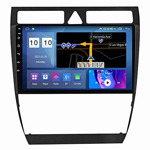 GTFHUH Navegador GPS para Coche DIN Android Auto para Audi A6 C5 1997-2004 S6 2 1999-2004 Plug and Play Enlace de Espejo para teléfono Celular con Soporte USB Dual Control del Volante WiFi