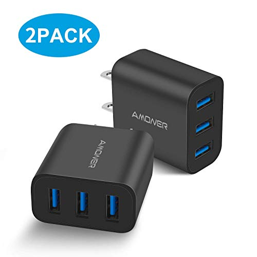 Amoner Wall Charger, Upgraded 2Pack 15W 3-Port USB Plug Cube Portable Wall Charger Plug for iPhone Xs/XS Max/XR/X/8/7/6/Plus, iPad Pro/Air 2/Mini 2, Galaxy10/9/8/7, Note9/8, LG, Nexus and More