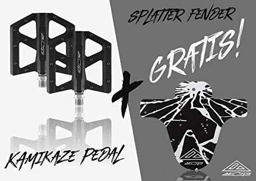 AZONIC Kamikaze RL MTB Pedali Nero + Splatter Fender | Super sottile Bike Pedali| Stabile pedale piatto con asse più lungo e più forte corpo pedale | Adatto per Mountain Bike, E-Bike, BMX Bike