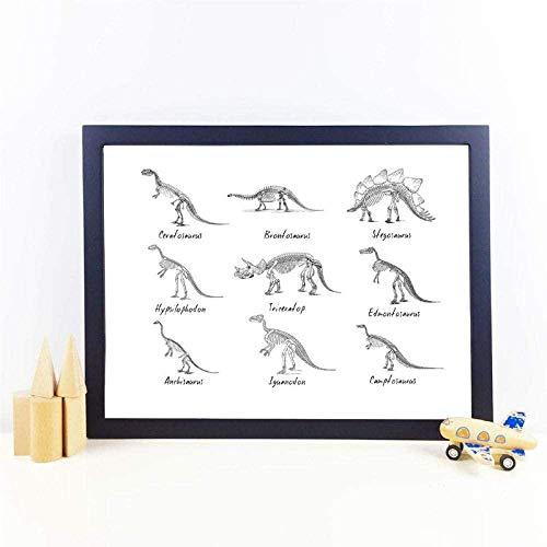 Cuadro sobre lienzo para pared con estampado de decoración para habitación de niños, tabla de dinosaurios, póster de paleontología de especies de dinosaurios, 40x60cm