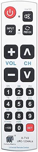 Mando a Distancia Universal Alkia con botón Grande A-TV2, Mando a Distancia para Personas Mayores: inserte la batería, no se Requiere Programa para Personas Mayores
