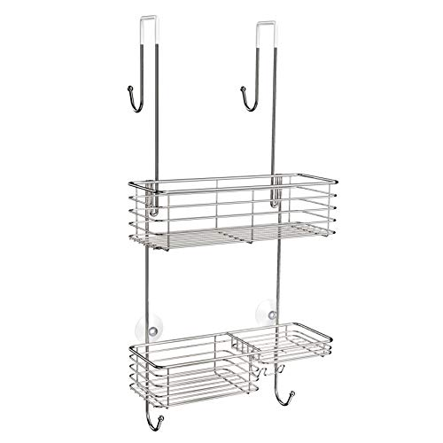 SMARTAKE Shower Caddy Over The Door Rustproof Bathroom Shelf Organizer SUS201 Stainless Steel Wall Rack for Dorm Toilet Bath and Kitchen Silver