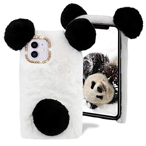 Plüsch Panda Hülle für Samsung Galaxy S20 FE,MOIKY Niedlich Flauschige Winter Weich Warm Faux Pelz Haar Pom Ball &Bling 3D Diamant Bowknot Stoßfest Schutz Handyhülle für Galaxy S20 FE,Schwarz+Weiß