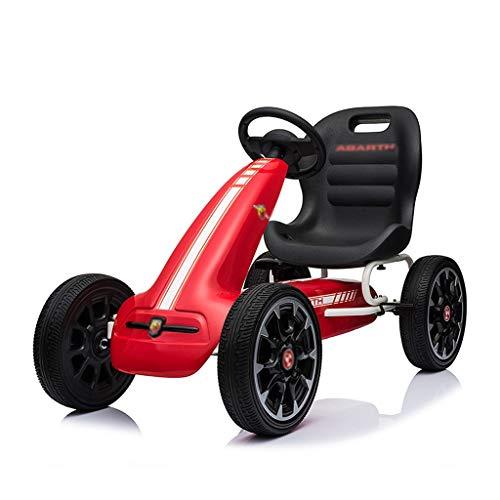 Go-kart Kart A Quattro Ruote per Ragazzi Macchinina A Pedali Passeggino Fitness Volante da Corsa Frenabile Carico 60 kg (Color : Red, Size : 113 * 58 * 73cm)