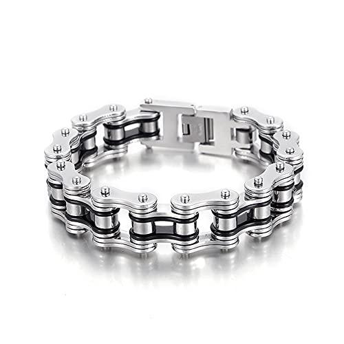 WTZWY King Bracelet Bike Chain Men's, Retro Niche Design Hip-Hop Personality Punk Style, Single Original Titanium Steel Jewelry,Silver,20Cm
