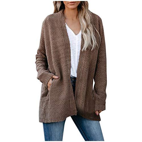 Lazzboy Store Strickjacke Damen Lang Langarm Open Front Pockets Stricken Übergroße Cardigan Sweater Mäntel S-XL (Braun,L)