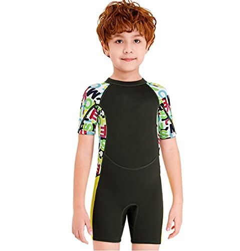 Tauchanzug für Kinder, 2.5mm Neopren Shorty Neoprenanzug Schwimmen Jungen Mädchen Sonnencreme Surfen Surfen Tauchen Nass Anzug Schnorcheln (Color : Black, Size : L)