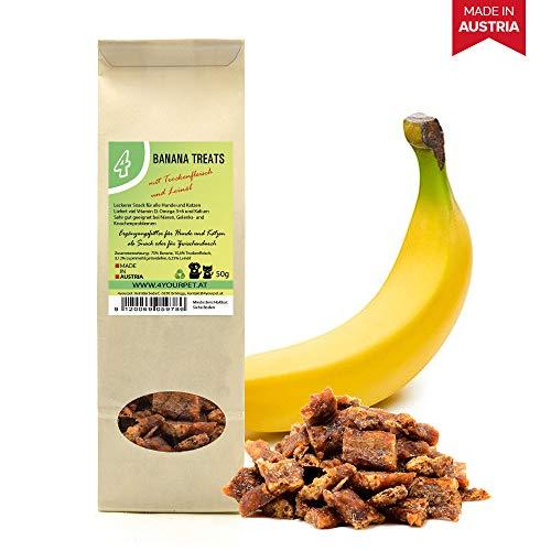 4yourpet Katzensnack, Hundesnack Banana Treats aus Bananen, Trockenfleisch und Leinöl, gesundes Leckerli bei Problemen mit Nieren oder Gelenken, Weicher Kausnack