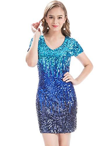 MANER Women's Sequin Glitter Short Sleeve Dress Sexy V Neck Mini Party Club Bodycon Gowns (XS, Sky Blue/Royal Blue/Navy Blue)