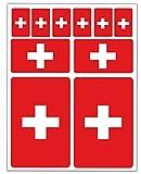 Biomar Labs® 10pcs Pegatina Suiza Swiss Flag Bandera Vinilo Adhesivo Coches Cascos Motos Ciclomotores Bicicletas Ordenador Portátil D 23
