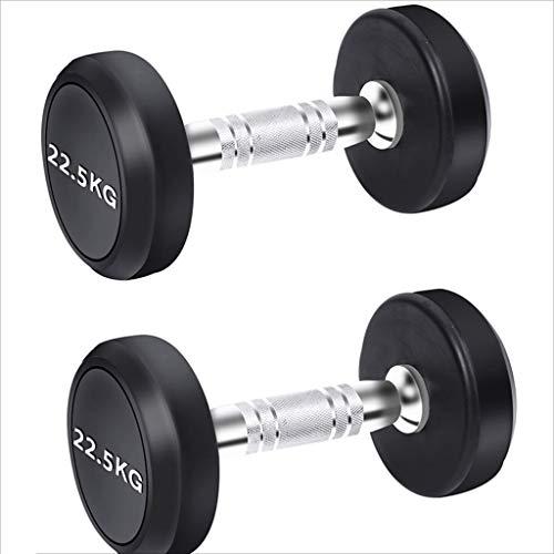 rubberized dumbbells JOYGOOD Dumbbells Fixed Value Men's Fitness Household Dumbbells Gym Fitness Equipment Dedicated Commercial Rubberized Dumb Ling Suit (Color : Black, Size : 45kg)