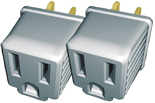 Stanley 30397 3 to 2 Adapter 2pk, Polarized to Grounded Single Outlet Converter, 2 Pack Grey