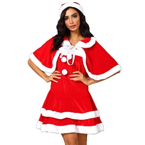 Frashing Damen Weihnachtsfrau Kostüm, Mütze, Umhang, Kleid und Handschuhe, Damen Weihnachtskleider Weihnachtskostüm Minikleid Festliches Kleid Weihnachten Karneval Party