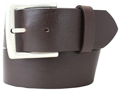 Jeansgürtel aus Vollrindleder 5 cm | Leder-Gürtel für Damen Herren 50mm | Breiter Ledergürtel aus echtem Leder | Braun 100cm