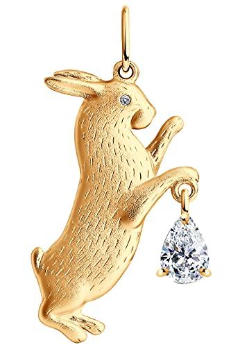 Colgante de conejo de plata 925 con cristal Swarovski, chapado en oro