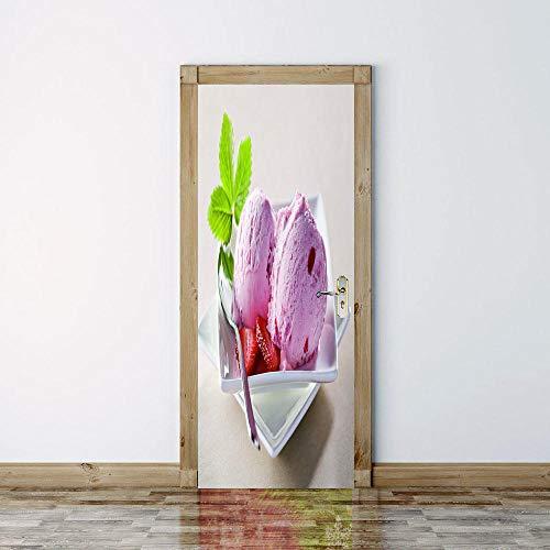geen merk 3D Diy deur Sticker aardbei ijs muur muurschilderingen Woonkamer Kinderen Kwekerij School Restaurant Cafe Hotel Home Office Décor.77X200Cm
