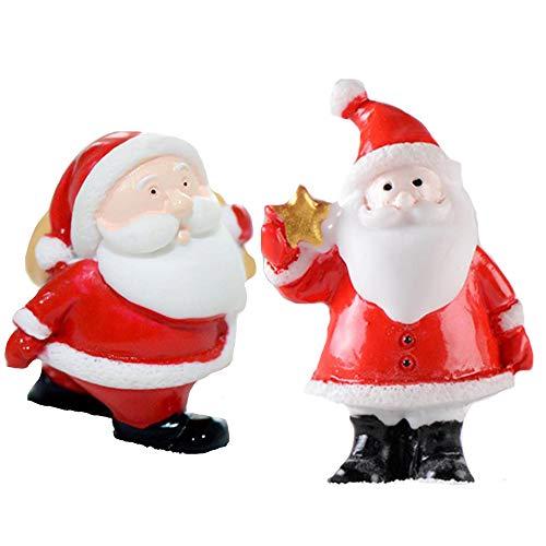 Lhbfcy Christmas Micro Landscape Figurina Mini Pupazzo di Neve Mini Ornamenti Babbo Natale in Resina Ornamenti Miniatura Pupazzo Natale per Muschio, Piante Grasse, Altri Luoghi 12Pezzi (Stella)