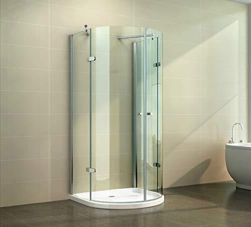 Duschkabine U-Form Duschabtrennung U-Duschwand Pendeltür Glas Halbkreis NANO, Größe:90 x 90 x 190 cm, Dusche_Amazon:Klarglas | mit Duschtasse & Ablauf