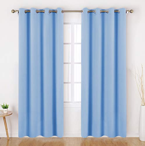 HOMEIDEAS Blackout Curtains 52 X 84 Inch Long Set of 2 Panels Baby Blue Room Darkening Bedroom Curtains/Drapes, Thermal Grommet Light Bolcking Window Curtains for Living Room