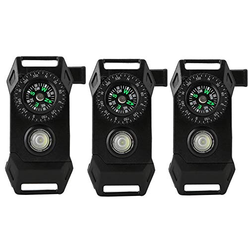 Survival Buckle, 3Pcs Multifunctional Compass Plastic Buckle with LED Light, Emergency Survival Buckle for Paracord Bracelet Outdoor Camping