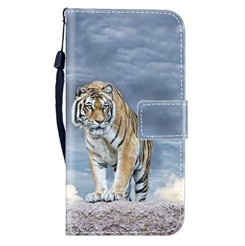 Sunrive Kompatibel mit Asus ROG Phone 2 Hülle,Magnetisch Schaltfläche Ledertasche Schutzhülle Etui Leder Hülle Cover Handyhülle Tasche Schalen Lederhülle MEHRWEG(W8 Tiger)