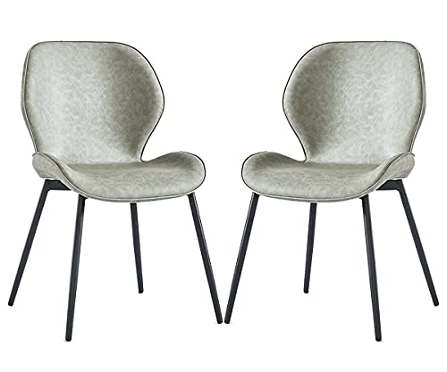 HYRGLIZI Dining Room Chair Set of 2 Reception Chairs with Comfy Upholstered Padded Seat Metal Legs Lounge Chair for Living Bedroom Kitchen Dining Waiting Room (Color : Light Grey)