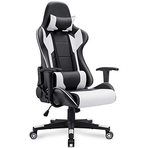 Homall Gaming Chair Racing Style High Back PU Leather Chair Executive and Ergonomic Style Swivel Chair with Headrest and Lumbar Support (White)