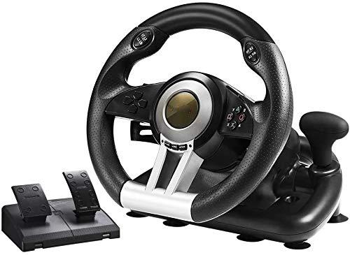 WUAZ Driving Force Volant de Course avec Pédales, Retour de Force Réaliste, Volant en Cuir, Rotation du Volant à 180°, PS4/PS3/PC/XBOX One/Switch,Noir