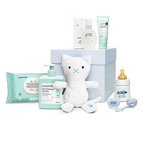 Suavinex - Canastilla de regalo baby shower para recién nacido con biberón, chupete, broche, gel-champú Syndet, crema pañal y toallitas, 0-6 meses, azul