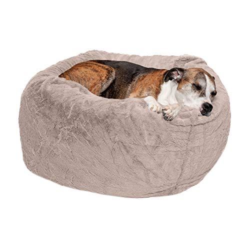 Furhaven Pet Dog Bed - Round Plush Faux Fur Refillable Ball Nest Cushion Pet Bed with Removable Cover for Dogs and Cats, Shell (Pink Tan), Large