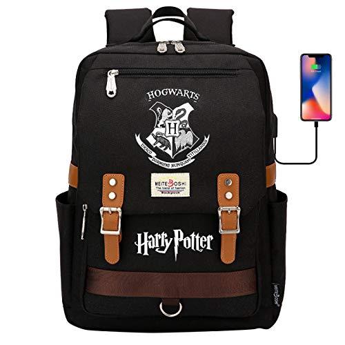DDDWWW Harry Potter Rucksack,Hogwarts Laptop School Bag,Outdoor Sport Backpack Casual Daypacks with USB Port 42CM/30CM/16CM Black